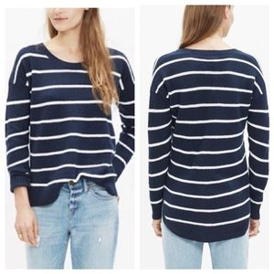 Madewell Navy White Striped Pullover Light Sweater